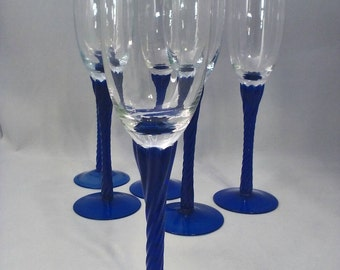 Champagne glass Hand blown Cobalt blue Crystal glass Set of 6