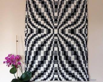 handwoven wall hanging wool, wall decoration black and white, pure wool, traditional pattern, wall hanging old pattern,  AtKathleens