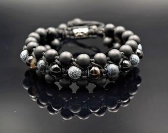 Men's Bracelet 3 Row Shamballa Bracelet Onyx Beaded Bracelet Macrame Bracelet Gemstone Bracelet Agate Bracelet Gift for Men Men's Jewelry