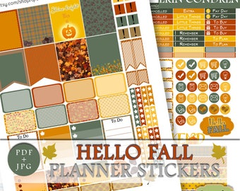 Erin Condren Printable Fall Weekly Kit, Autumn Stickers Erin Condren, Fall Printable Planner Stickers, ECLP November Planner Sticker Kit