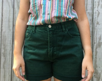 Highwaisted Forest Green Denim Shorts