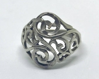 Vintage Sterling Silver Carved Open Scrolled Ornate Ring Size 6.75