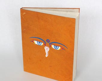 EcoFriendly Handmade Lokta Bark Paper Journal | Orange Buddha Wisdom Eyes Natural Notebook | Sustainable Hard Cover Diary Nepal | Fair Trade