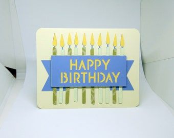 Male Birthday Card - Candles - luxury personalised unique quality special bespoke UK - Dad/Son/Uncle/Brother/Nephew