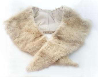 Beige mink fur scarf, blonde mink fur collar, real fur accessory