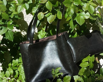 Smooth Chocolate brown Vegan Leather Hand bag tote and coin purse
