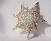 Jomaz Atomic Starbrust Mid Century Brooch, SUPER Rare, Pave Set Clear Rhinestones, Gold Plated, Vintage 1960s