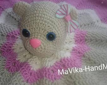 Blanket-cuddly for a child. Amigurumi Bear. Amigurumi doll. Crocheted mascots. Stuffed toy.