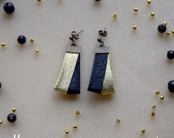 Earrings in gold and black shiny lurex fabric Christmas party