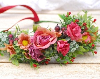 Red flower crown Wedding flower crown Bridal flower crown Bohemian flower crown Wedding hair wreath Bridal flower crown Flower halo Rustic