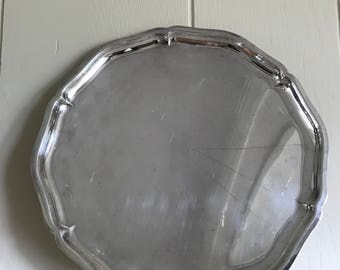 Vintage Silver Plate Metal Serving Platter - Round Serving Tray - Food Photography Props - Bar Cart Decor - Bar Tray