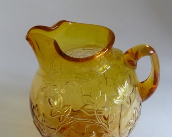 Small Amber Glass Pitcher/Hand Made by Williamsburg Glass Co/Vintage Grape cluster and Grape and Leaf pattern with label