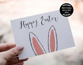 Printable Easter Card, Happy Easter Greeting Card, Easter Cards, Easter Bunny Card, Easter Printables, Rabbit Ears, Bunny Ears, Digital
