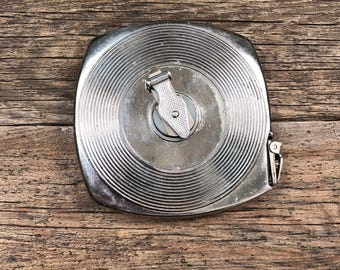 Vintage 50ft Chrome Tape Measure • White Steel Measuring Tape Made in USA
