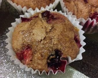 Cranberry Orange Muffins (All Natural, Organic, Vegan Friendly)