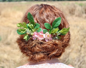 Rustic hair comb, boho hair comb, floral wedding comb, flower bridal comb, wedding hair comb, bridesmaid accessory, wildflower hair comb