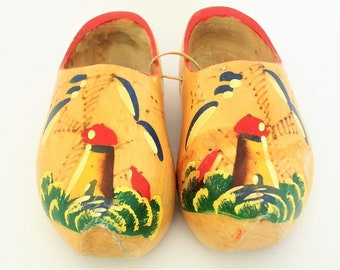 Vintage Dutch Hand Carved and Painted Clogs
