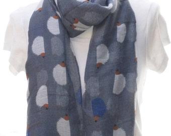 Grey hedgehog print scarf, Beach Wrap, Cowl Scarf, Hedgehog print scarf, cotton scarf, gifts for her