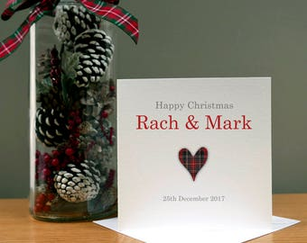 Personalised Tartan Heart Happy Christmas Card - Xmas Card - Christmas Wife - Christmas Husband - Christmas Couple - Christmas Family