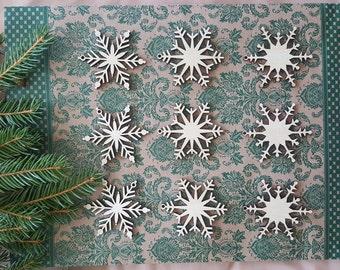 Wooden Christmas Set Wood Snowflake Laser Cut Christmas Decor Holiday Decorations Wooden Christmas Tree Ornaments Snowflake Ornament