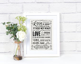 Love Wall Art, Love Quote Signs, Love Quote Print, Love Sign, Love Wall Decor, Love Artwork,  Black White Wall Art, Love is Kind