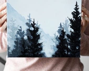 Misty Forest, Foggy Forest, Scandinavian Art, Original Painting, Landscape Painting, Home Decor, Acrylic Painting, Wall Art, Forest Art