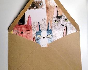 Cat Lined envelopes