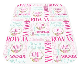 Personalized Baby Blanket, Baby Blanket with Name,  Baby Girl Monogrammed Blanket, Birth Announcement Blanket, Personalized Swaddle Blanket