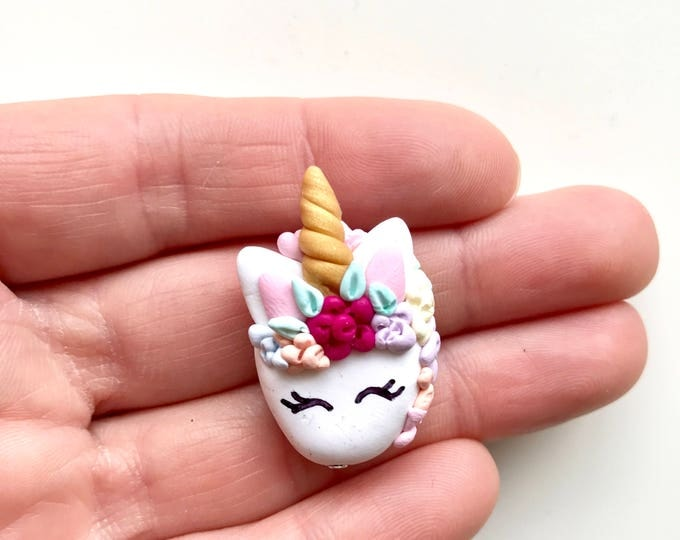 Unicorn Pendant - Adorned with a Gold Horn and a Pastel Flower Mane