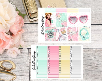 Summer Day Weekly Kit Planner Stickers - For Erin Condren Life Planner