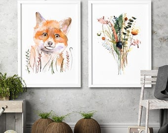 Fox and herbs watercolor set of 2 art prints farmhouse wall decor Home wall art illustration Original watercolor painting farm wall art