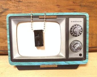 Vintage Wooden Letterpress F Necklace, Necklace Typography Necklace, Letter Press Pendant