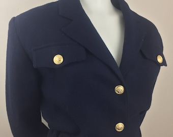 Vintage Blasssport by Bill Blass Navy Blue Cropped Military Jacket with Gold Decorative Buttons/Size 12 Large