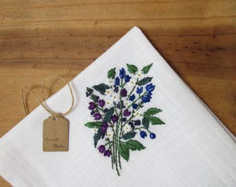 Purple and blue wedding bouquet handkerchief hand embroidered mother of the bride berry grass plan greens berries something small flower art
