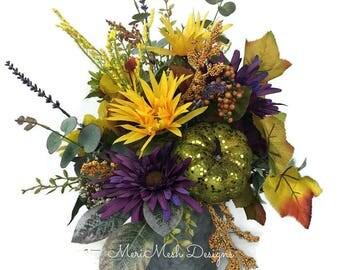 Sunflower Fall Arrangement, Fall Sunflower Centerpiece, Fall Harvest Centerpiece, Autumn Centerpiece, Autumn Arrangement, MeriMesh Designs