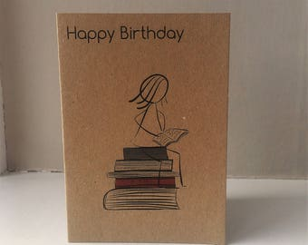 Bookworm Birthday Card - Happy birthday Book Lover Card - Happy Birthday Bookworm - Brown Card With Envelope - Blank Inside