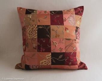Designer throw pillow, silk pillow, quilted pillow cover, up cycled silk patchwork pillow cover, boho pillow, shabby chic pillow