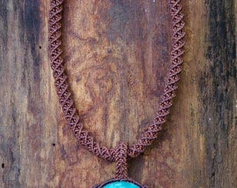 Necklace - Brown pendant with Chrysocolla and Lapis Lazuli beads