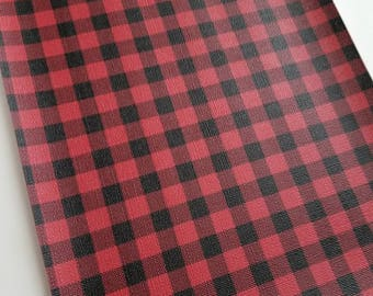BUFFALO PLAID: RED & black faux leather, faux leather sheet,8x11 faux leather, faux leather,vegan leather,faux leather fabric,vinyl material