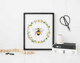 Bee Print, Honey Bee Art, Spring Home Decor, Farmhouse Wall Decor, Bumble Bee Print, Honey Bee Print, Spring Decor, Spring Wall Art