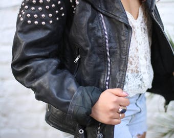Vintage 80s Black Leather Biker Rock Punk Embellished Jacket Size S/M