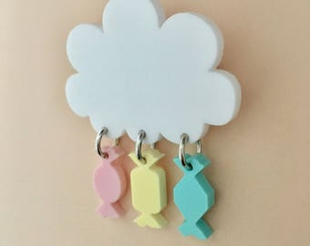 Raining Sweets Cloud Acrylic Brooch In Pastel