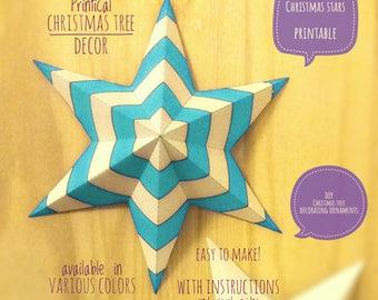 Christmas stars, DIY, printable, Christmas decor, diy Christmas ornaments, Christmas art, holiday decor, stars,4 Christmas tree, EMERALD