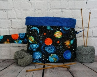 Planets/ Galaxy/ Space Bucket bag, Knitting project bag, 3 skein bag, Crochet project bag, Shawl Knitting Bag, Yarn bowl, Fold over bag