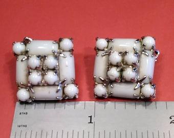 Vintage, White, Clip On Earrings.