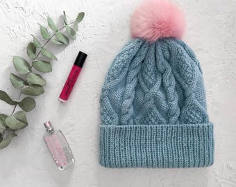 Winter Pom Pom Hat for Women, Knit Hat with Pom, Women Winter Hat, Beanie Hat with Pom, Warm Winter Hat, Wool Hat, Blue Hat with Pom