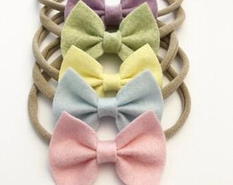 spring felt bows/ spring bows/ available on headband or clip