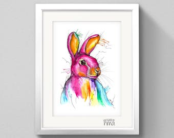 A4 Rabbit Watercolour Print