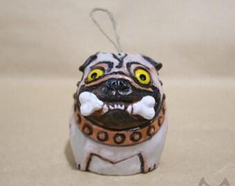 Ceramic bell, Pug bell, dog bell, ceramic figurine, figurine bell, statuette dog, breed Pug, Pug, ceramic pug, fun pug, figurine pug
