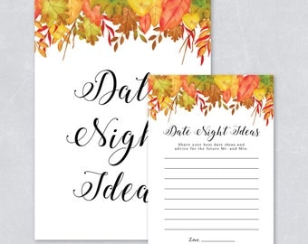 Autumn fall bridal shower, date night ideas, wedding game, autum leaves, watercolor fall leaves, DIY printable, INSTANT DOWNOAD